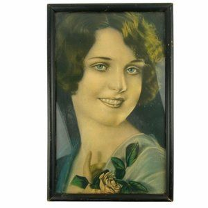 Vintage Hand Colored Style Framed Portrait of Woma